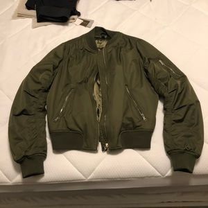Topshop aviator green jacket